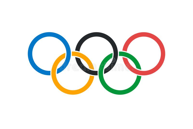 An illustration of the official Olympic Flag stock illustration
