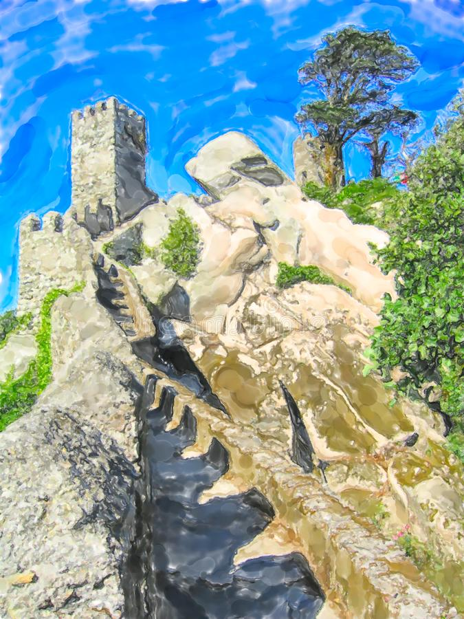 Illustration of old Castle of the Moors at Sintra in Portugal royalty free illustration