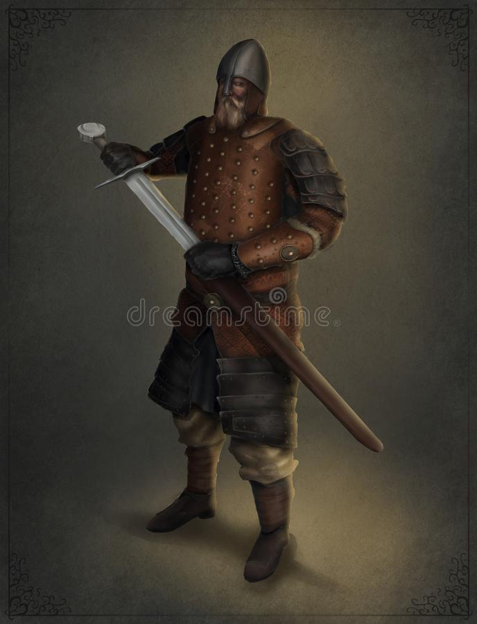 Illustration of an old knight pulling out his sword stock illustration