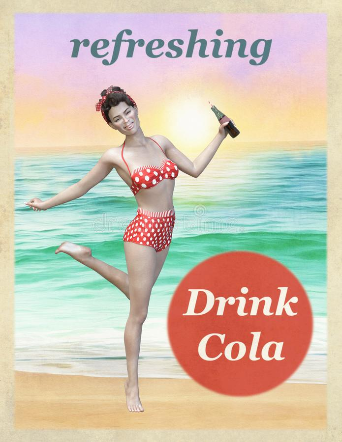 Vintage Cola Beverage Advertisement Poster. Illustration of an old, retro vintage advertisement poster. Similar to Coca Cola and Pepsi, the ad is a tool for stock illustration