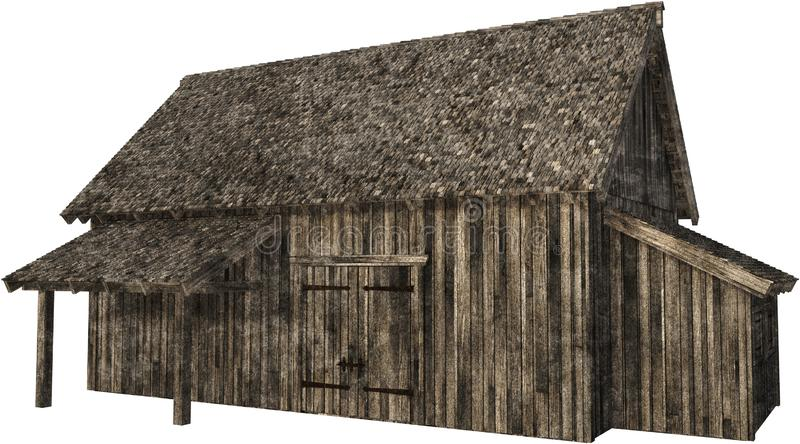 Old Barn, Farm, Isolated, PNG. Illustration of an old vintage barn from a farm. The wooden retro building is isolated on white, PNG file available royalty free stock image