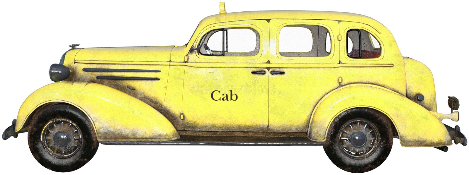 Old Vintage Retro Taxi Cab Isolated. Illustration of an old vintage retro yellow taxi cab automobile. isolated on white. PNG file available stock illustration