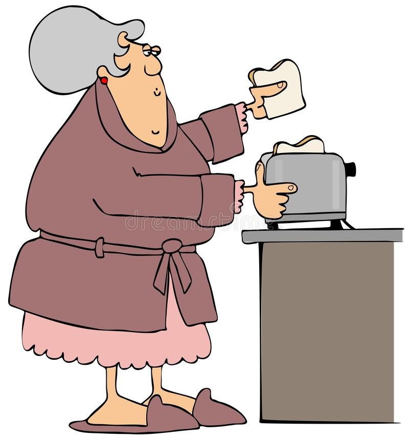 Old woman in bathrobe making toast royalty free illustration