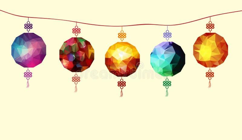Illustration om polygonal lyktor för traditionell festival royaltyfri illustrationer
