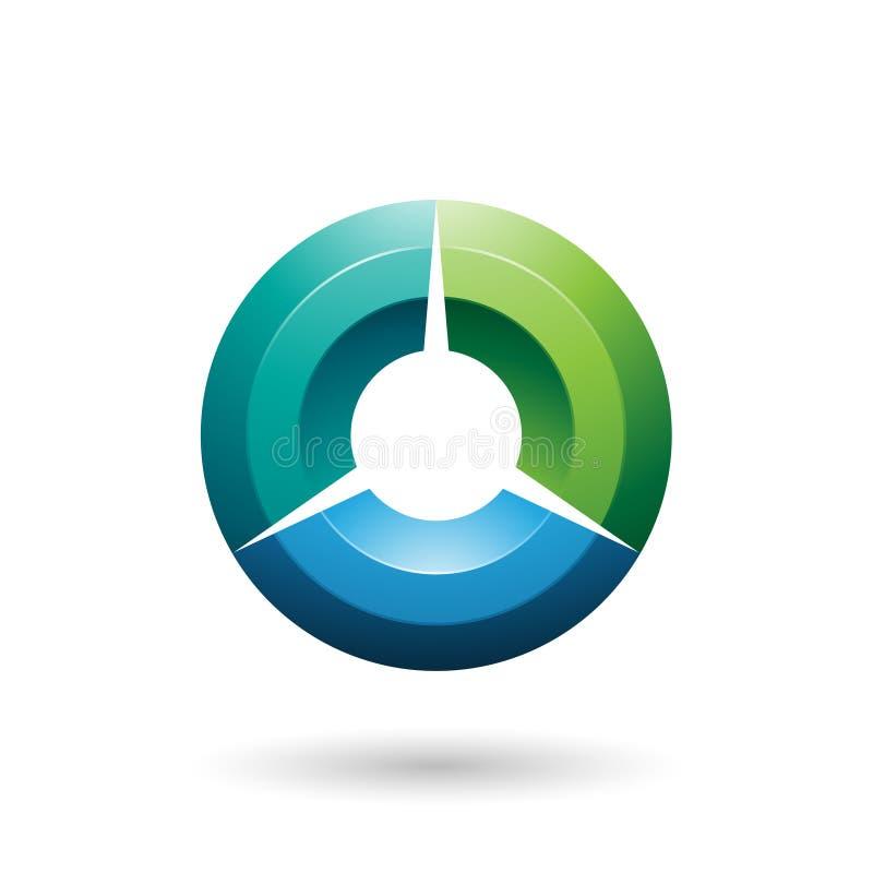 Illustration ombragée brillante verte et bleue de vecteur de cercle image stock