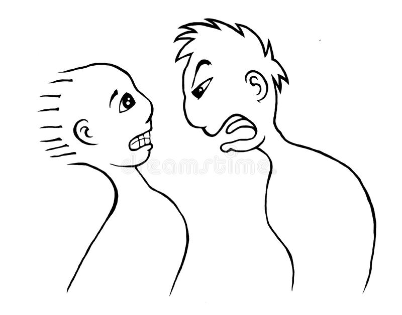 Illustration of one person yelling at another. Angry, aggressive, lines, background, black, white, scared, style, design, idea, emotions, body, head, loud, art royalty free illustration