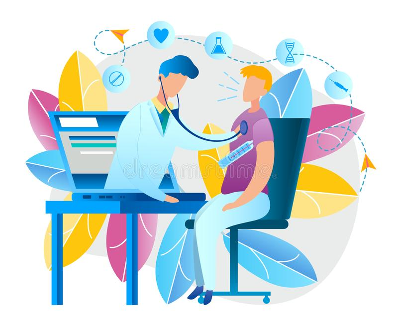 Illustration an Online Doctor Consultation at Home. Vector Image Man Measures Temperature Body Thermometer. Sitting in Front Laptop. Doctor Pediatrician Screen vector illustration