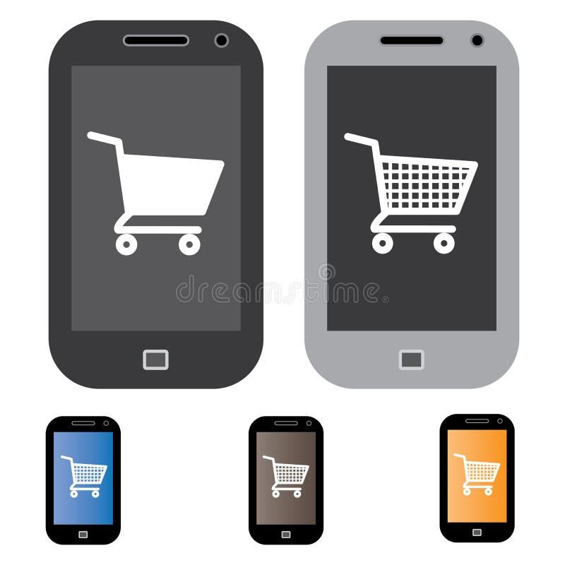 Illustration of online shopping using mobile/cell phone stock illustration