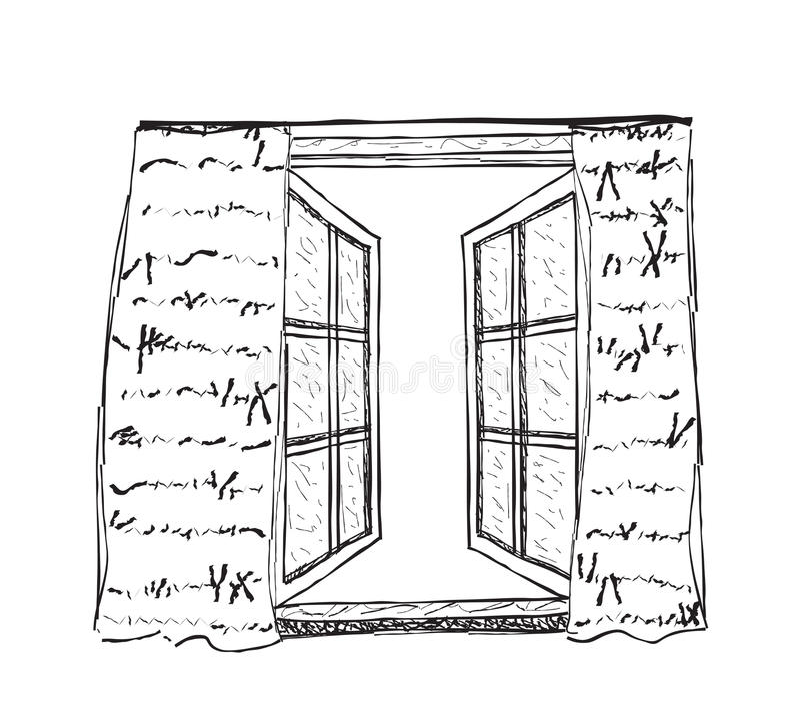 Illustration of opened window royalty free illustration
