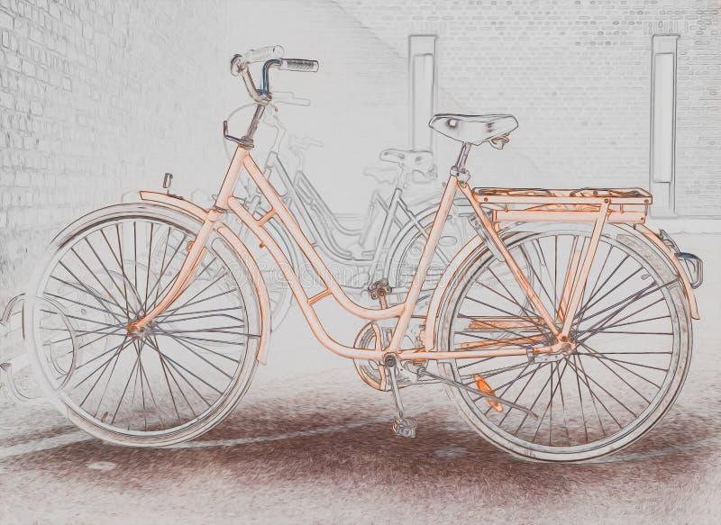 Illustration of a orange bicycle vector illustration