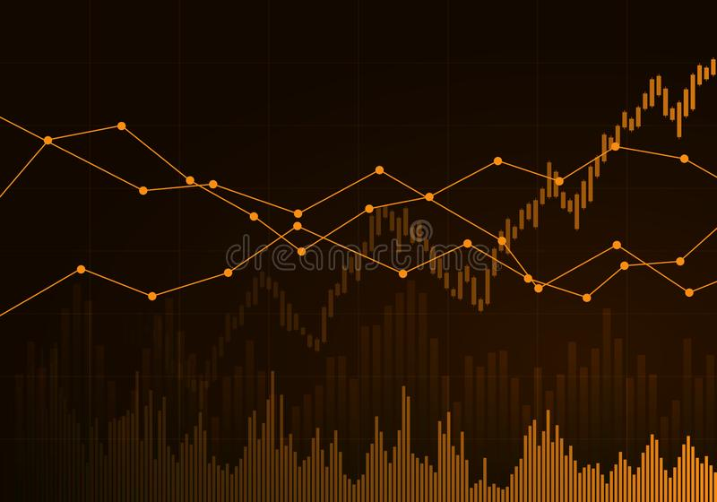 Illustration of orange business chart of growth and fall in stock, money or commodity prices with lines and background change, royalty free illustration