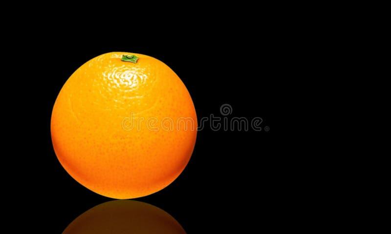 Illustration of a orange on dark background and its reflection.  stock illustration