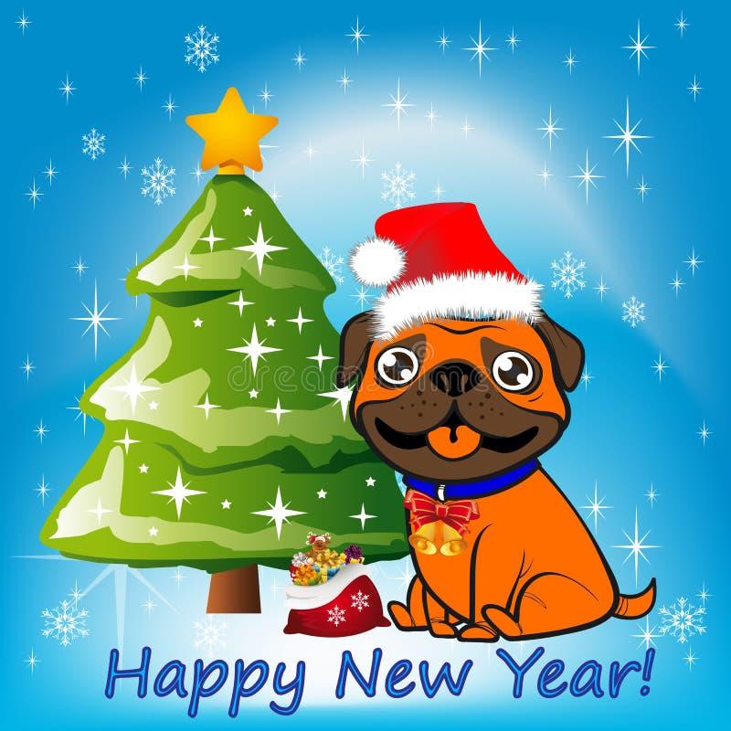 Illustration orange hundsammanträde för jul nära en julgran royaltyfri illustrationer