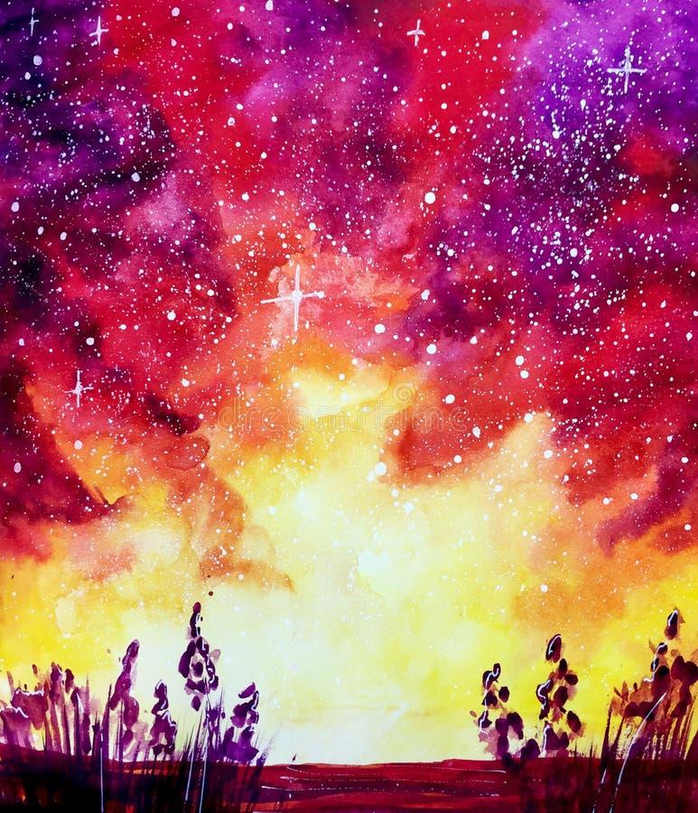 Illustration orange rouge violette d'aquarelle de galaxie de l'espace de nuit illustration de vecteur