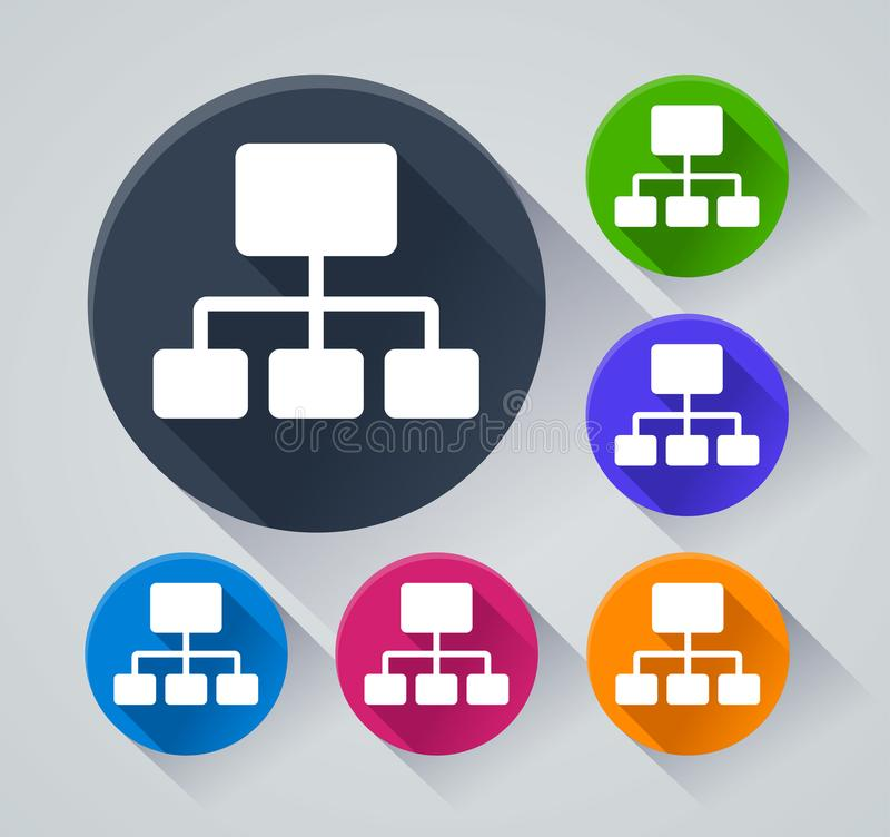 Organization circle icons with shadow. Illustration of organization circle icons with shadow stock illustration