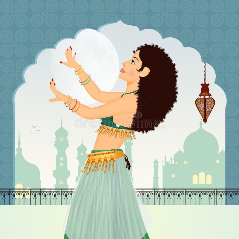 Illustration of Oriental veils dances. Illustration of brunette girl dancing Oriental veils dances vector illustration
