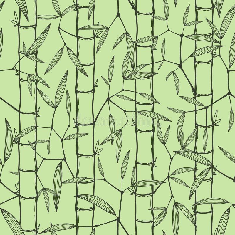 Illustration orientale de vecteur de papier peint d'herbe en bambou chinoise ou japonaise Fond sans couture asiatique tropical illustration de vecteur