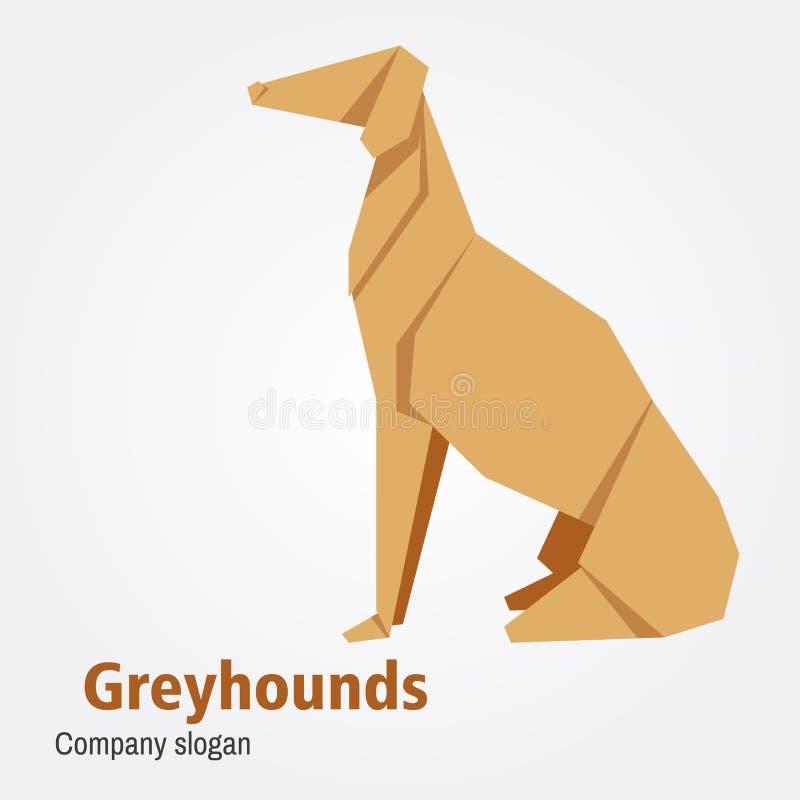 Illustration of origami dog breed greyhound. Vector Illustration of origami dog breed greyhound on isolated white background royalty free illustration