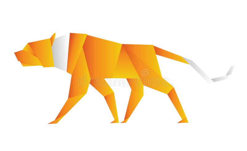Illustration of an origami tiger orange color. Illustration of an origami tiger orange color royalty free illustration
