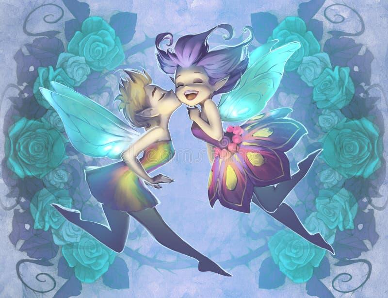 Illustration originale de deux elfes drôles mignons, belles filles de baiser illustration de vecteur