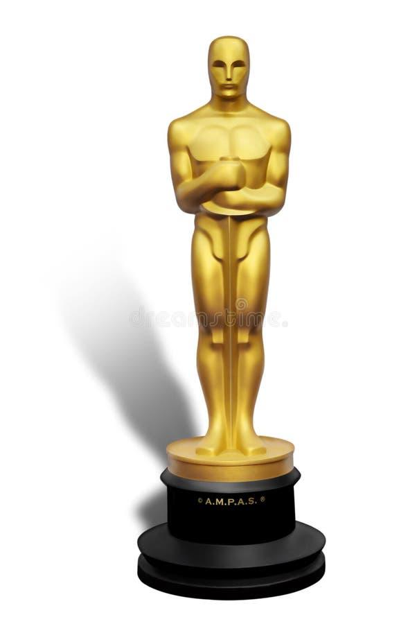 Illustration of Oscar statue on white background stock illustration