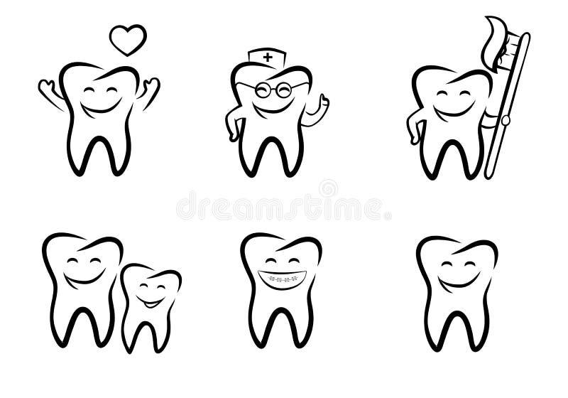 Vector illustration of smiling dental. Black and white royalty free illustration