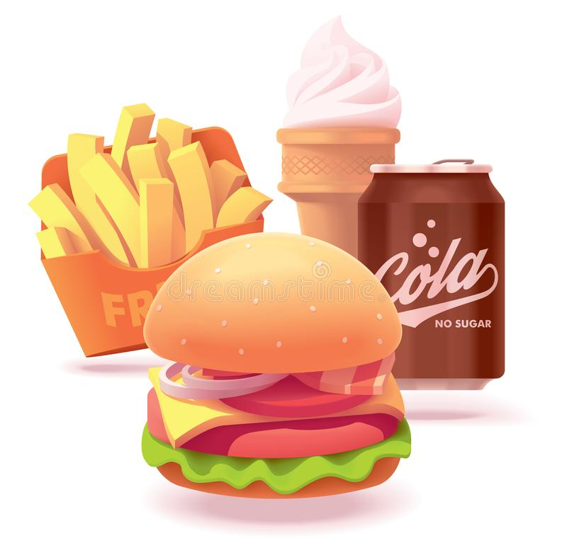 Illustration ou icône d'ensemble d'hamburger de vecteur illustration de vecteur