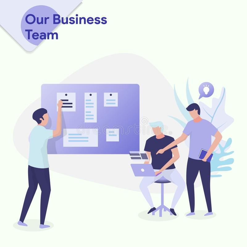 Illustration Our Business Team. Our Business Team vector illustration concept. three men were discussing, a man was giving an idea to a man who sat using a stock illustration