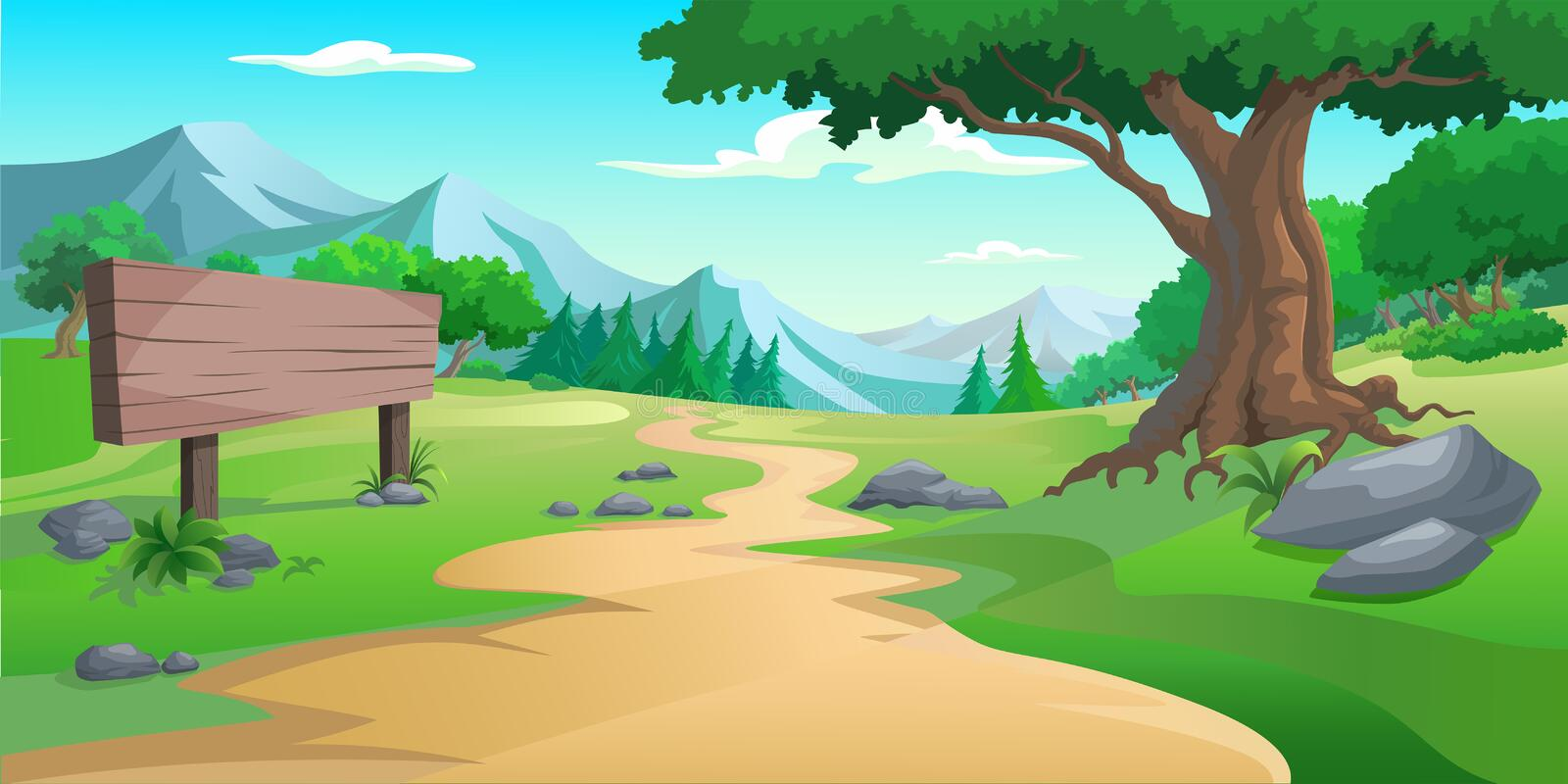 Illustration of an outdoor to have hill trees vector illustration
