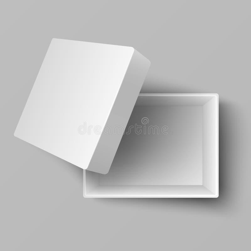 Illustration ouverte de vecteur de la vue supérieure 3d de boîte-cadeau de carton de blanc vide illustration libre de droits