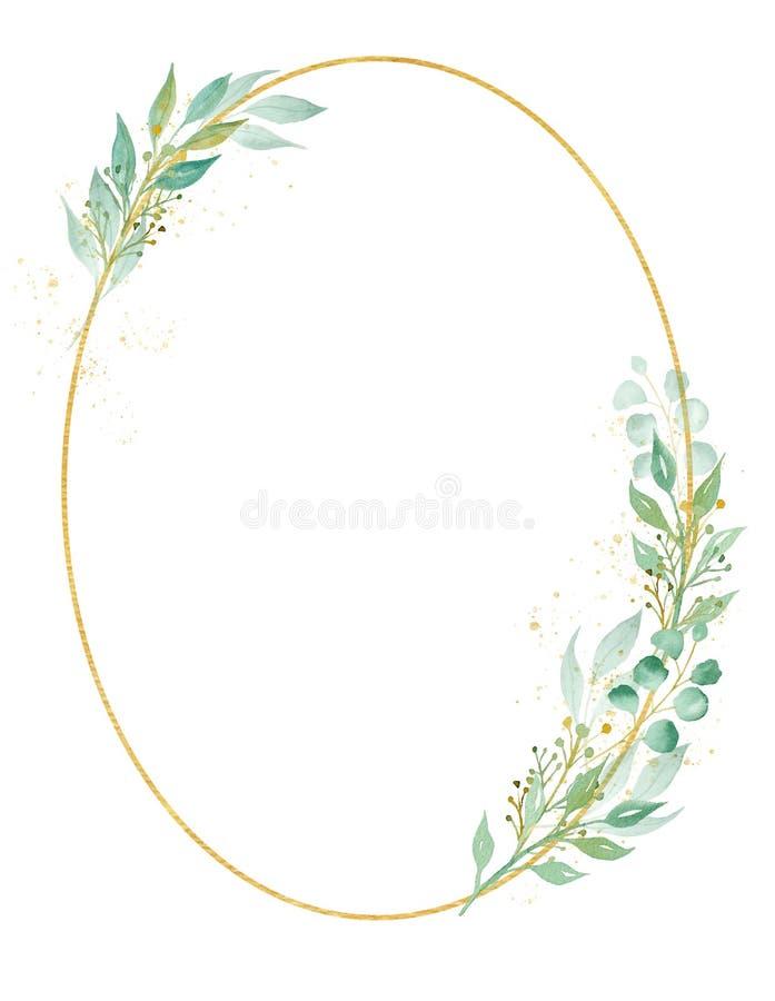 Illustration ovale décorative de trame d'aquarelle de cadre illustration de vecteur