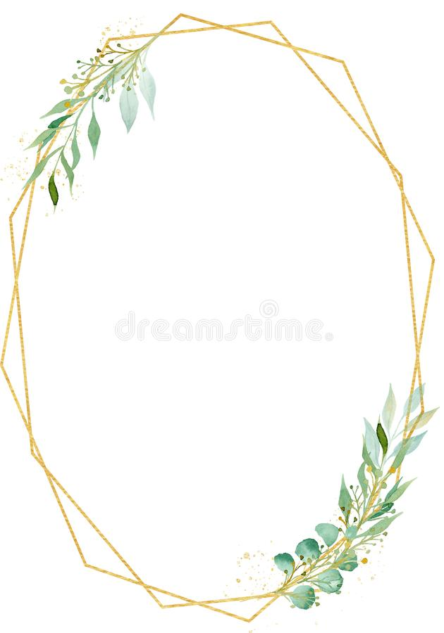Illustration ovale polygonale décorative de trame d'aquarelle de cadre photos stock