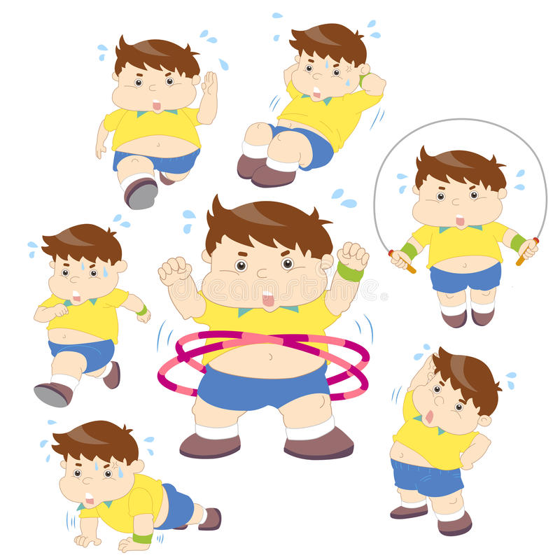 Download Illustration Of Overweight Boy Fitness Collection Stock Vector - Image: 32193167