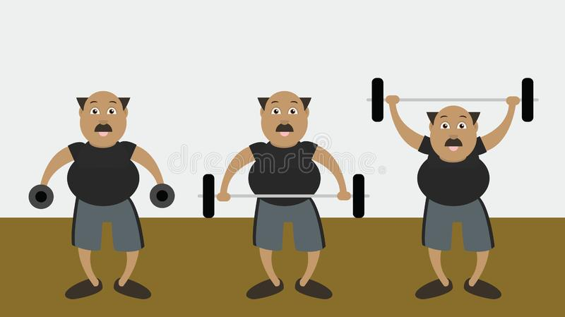 Overweight Man at Gym. Illustration of an overweight man performing weight training exercises at a gym stock illustration