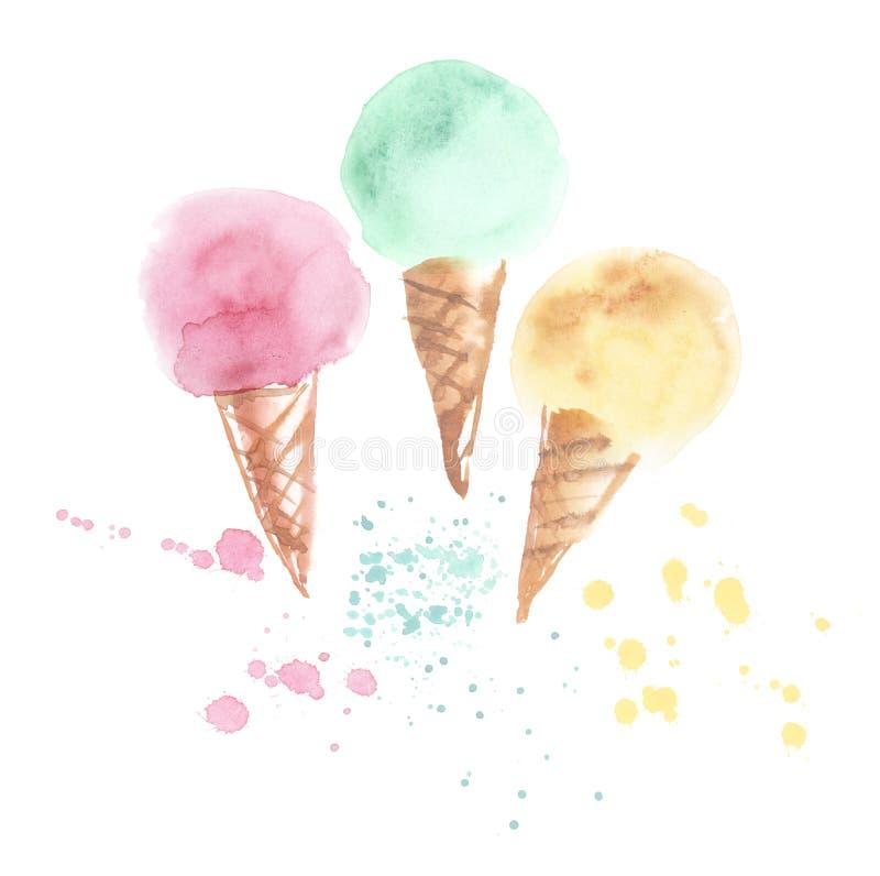 Illustration pâle de cornet de crème glacée de la couleur trois illustration libre de droits