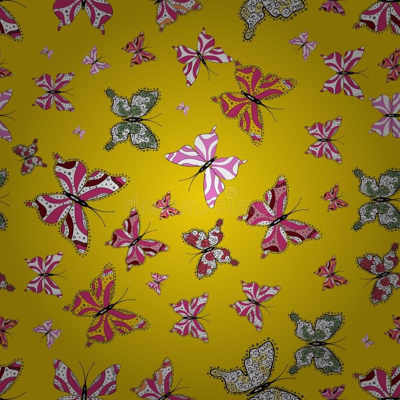 Illustration på vita, rosa och gula färger royaltyfri illustrationer
