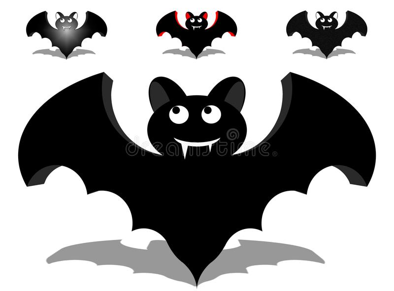 Illustration pack 4 happy bats with two colors and texture. in HD. Illustration pack 4 happy bats. two colors and texture. ideal for prints, stickers and vector illustration