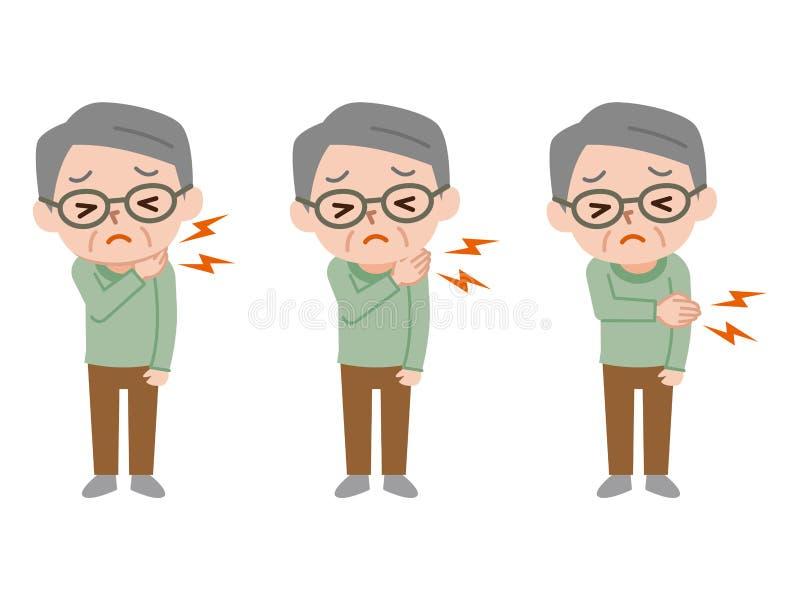 Illustration of painful senior male vector illustration