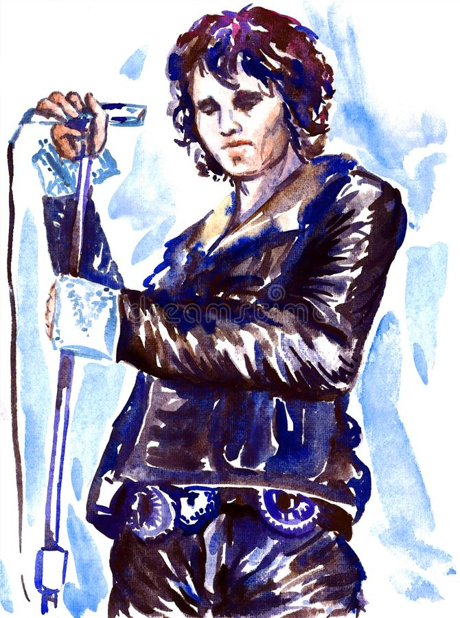 Jim Morrison, The Doors leader, with microphone on stage in dark leather jacket. Illustration, painted watercolor inspired by image of Jim Morrison, The Doors royalty free illustration