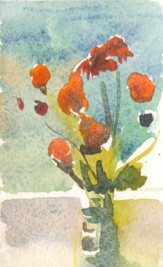 Orange flowers in a vase. Illustration painted in watercolor. orange flowers in vase. bouquet on the window stock illustration