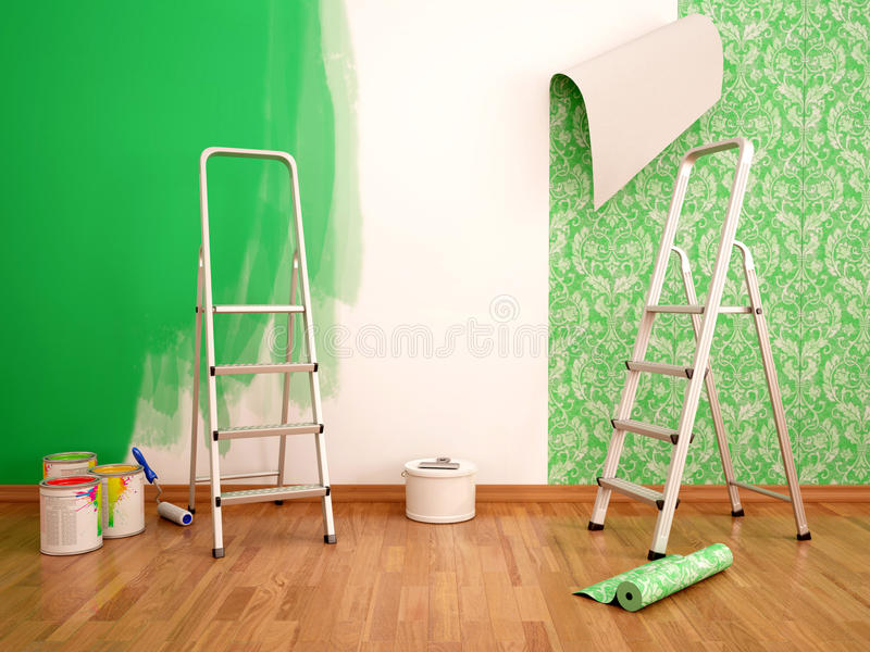 illustration of Painting wall and wallpapering green color royalty free stock photography