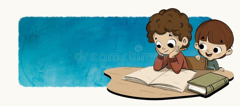 Kids doing homework. An illustration of a pair of kids, siblings or friends doing homework or reading stock illustration