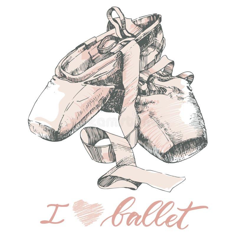 Illustration, paire tirée par la main de chaussures bien usées de pointes de ballet illustration de vecteur