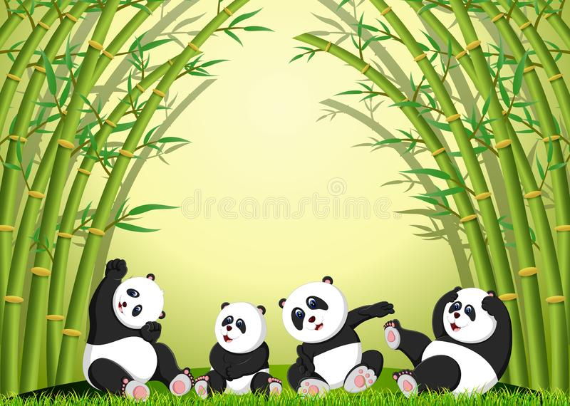 The panda action playing together under the bamboo. Illustration of the panda action playing together under the bamboo vector illustration