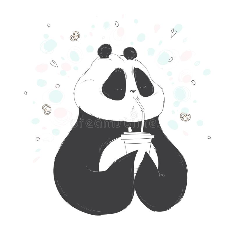 Illustration of a panda drinks through a straw coffee. Vector hand drawn illustration. stock image