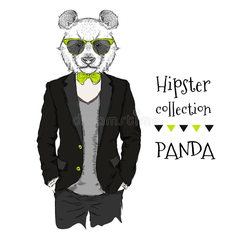 Illustration of panda hipster dressed up in jacket, pants and sweater. Vector illustration. Illustration of panda hipster dressed up in jacket, pants and sweater royalty free illustration