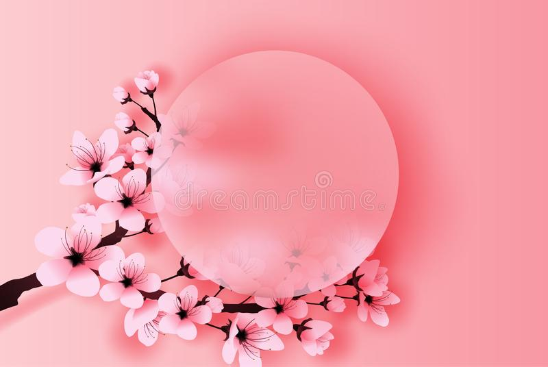Illustration of paper art and craft circle border spring season cherry blossom concept,Springtime with sakura branch, Floral royalty free illustration