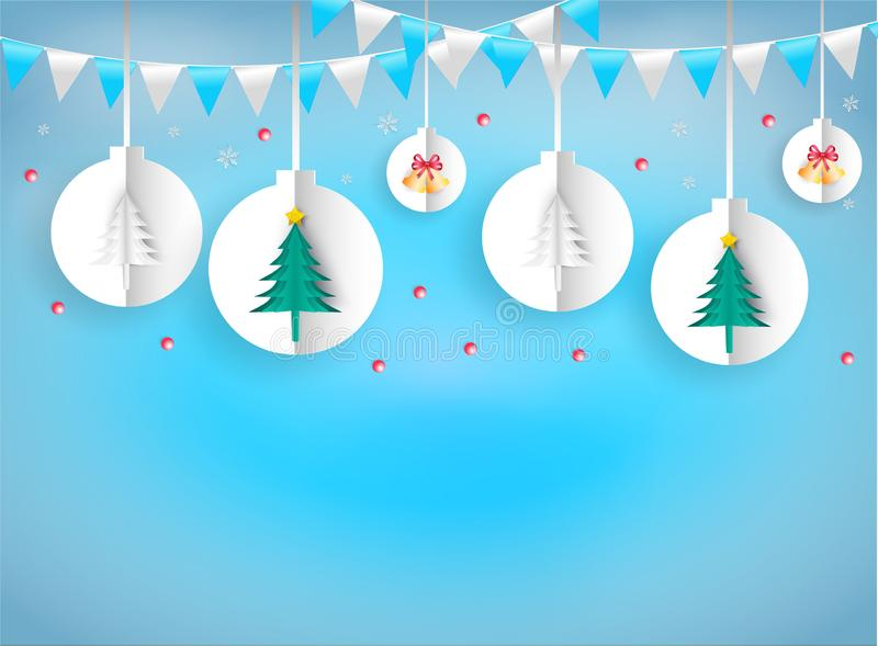 Illustration paper art style of christmas ornaments hanging rope. White on blue background. It represents the celebration on the day of happiness. Merry royalty free illustration
