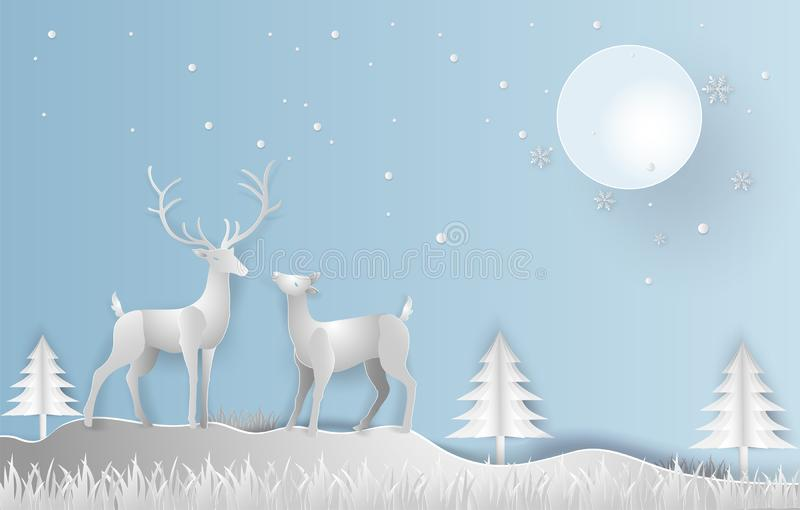 Illustration paper art style of Winter season and beautiful of r. Eindeer with landscape background. Merry Christmas and Happy New Year stock illustration