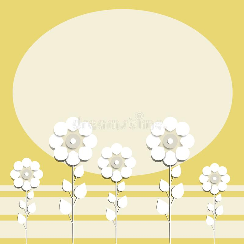 Illustration of paper flowers celebratory background for text placement vector illustration